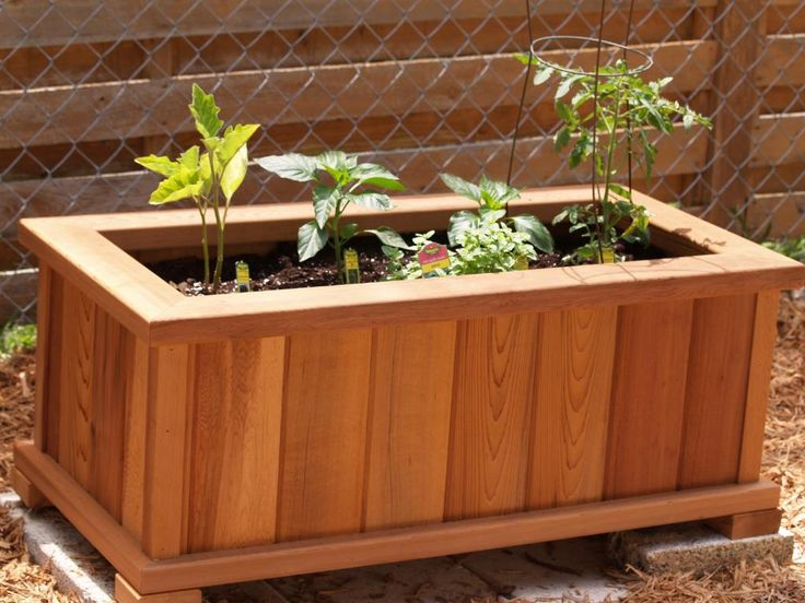 Wooden Planter Box Wood Country Rectangle Cedar Wood