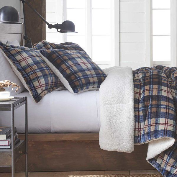 Ethan Plush Sherpa Plaid Reversible Comforter Set Comforter Sets Plaid Comforter Bed