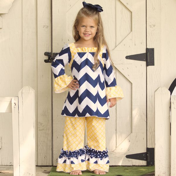 Lolly Wolly Doodle Navy Chevron Yellow Medallion Ruffle Pant Set 8/20 When she's older