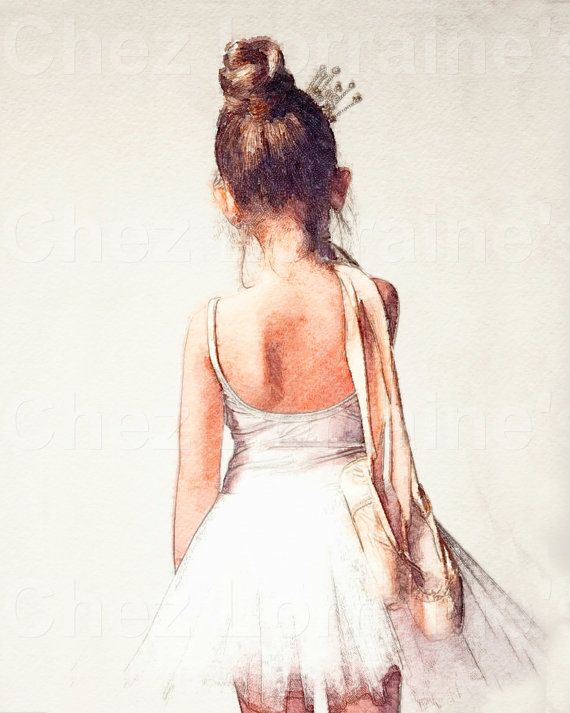 Off to Class:  Sweet Ballerina Watercolor Ballet Dance Fine Art Print, Cottage Chic Home Decor for the Ballet Dance Lover,