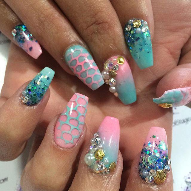 Mermaid Nail Art Acrylic Nails: 368 Best Images About Nail Art ♥ Mermaid Nails On