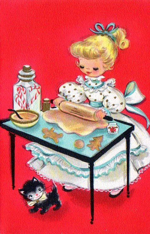 Little blond Girl Making Cookies.  1940's Vintage Illustration from a Child Book