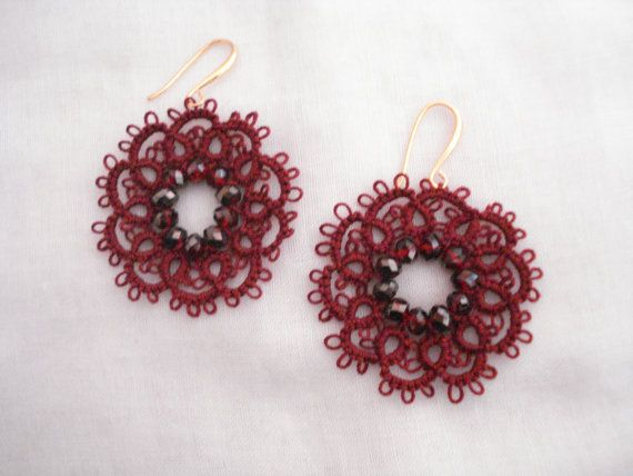 Bordeaux lace flower earrings Flower earrings Needle by Poppyg