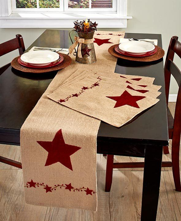 Country Star Tabletop Linens Placemats Runner Burlap Farmhouse Style Decor  Accent your home in country style with this Country Star Tabletop Decor. The lined Table Runner and Set of 4 Placemats feature a large star and a border of smal