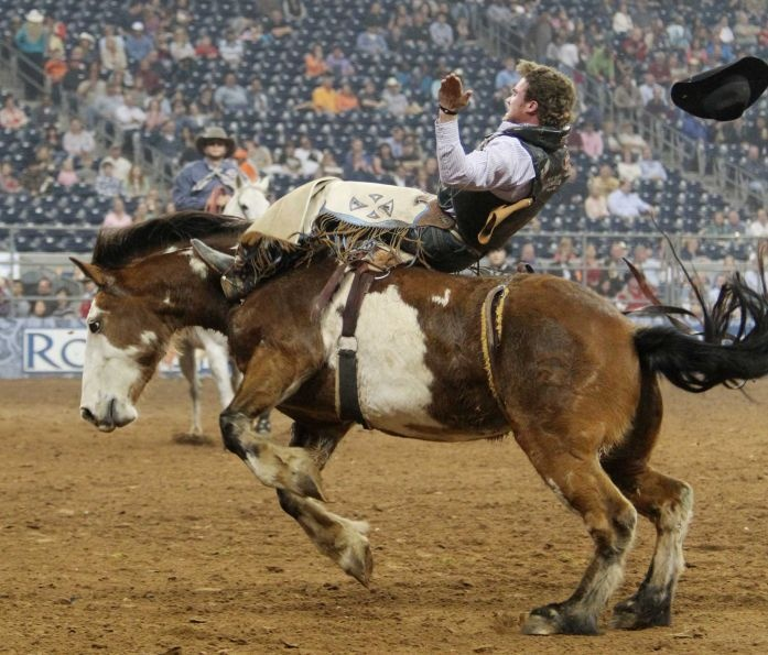 Joe Gunderson competes in Bareback Riding during the BP Super Series III Round 2 at Reliant Stadium on Monday, March 4, 2013, in Houston.    Photo By Mayra Beltran/Houston Chronicle