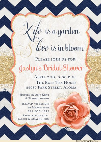 Life is a garden & love is in bloom! Bold boho love bridal shower invitations use trendy mix of chevron print in navy blue with coral accents to celebrate