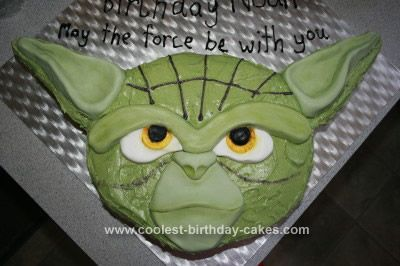 Homemade  Master Yoda Birthday Cake: I started this Master Yoda Birthday Cake by getting my large rectangle tin and making a paper cut out exactly the same size. Then drew my image of Master