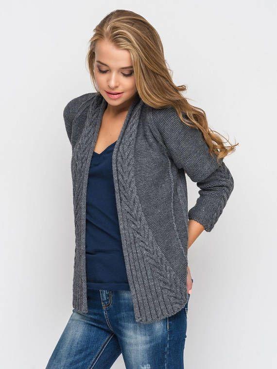 Grey Knitted Cardigan Womens Short Knit Cardigan Wool