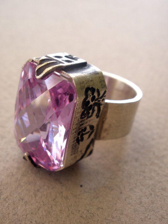 Lilac Zircon handmade sterling silver ring