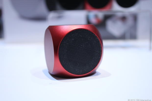 The Qube is an ultrasmall, ultraportable speaker, measuring just 1.5 inches long, deep, and wide. A Bluetooth version of the Qube is scheduled to be released in March.