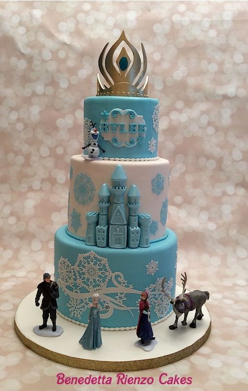 Elsa's Crown Frozen Cake - This is the cake I made for my niece Rylee for her 5th birthday. She is in love with the movie Frozen and the sisters Anna and Elsa. :)