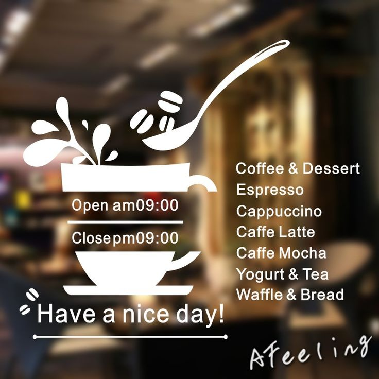 Aliexpress.com : Buy Coffee Shop Vinyl Wall Decal Shop Bussiness Hours Coffee Cup Design Lettering Open Close  Shop Time Wall Sticker Decoration from Reliable decorative tile stickers suppliers on vicky love