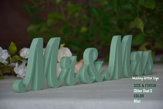MR & MRS Mint Mint Green Wedding Decorations by WeddingGlitterSign
