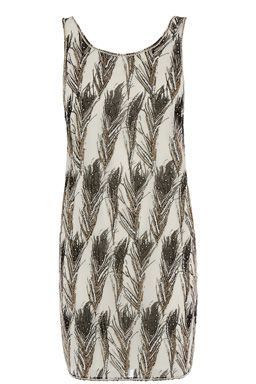 This sleeveless party dress features a scoop neckline, all-over feather print with delicate hand embellishment #WAREHOUSEWISHLIST