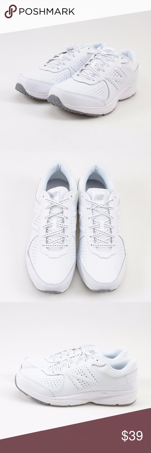 New Balance 411 Cush White Leather Sneakers // 10 🌼 Put your best foot forward in these comfortable women's walking shoes by New Balance. 🌼 ABZORB cushioning in heel for great shock absorption 🌼 Polyurethane midsole for stable cushioning 🌼 Leather upper 🌼 Padded footbed  🌼 These shoes come brand new condition in the original box! 🌼 There are a few small marks on the sole from being tried on. 🌼 Photos show all details, so please look over thoroughly. 🌼 #27WKSD // New Balance…