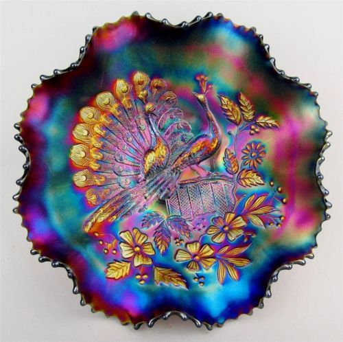 Peacocks on The Fence by Northwood Purple Carnival Glass Ruffled Bowl
