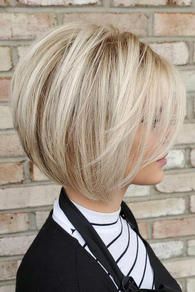 Blonde Short Bob With Bangs #shortbobhairstyles #b…