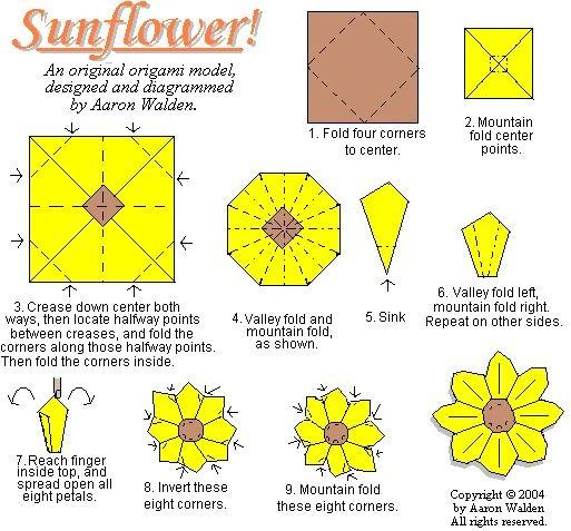 Sunflower Origami Diagram | origami | Pinterest