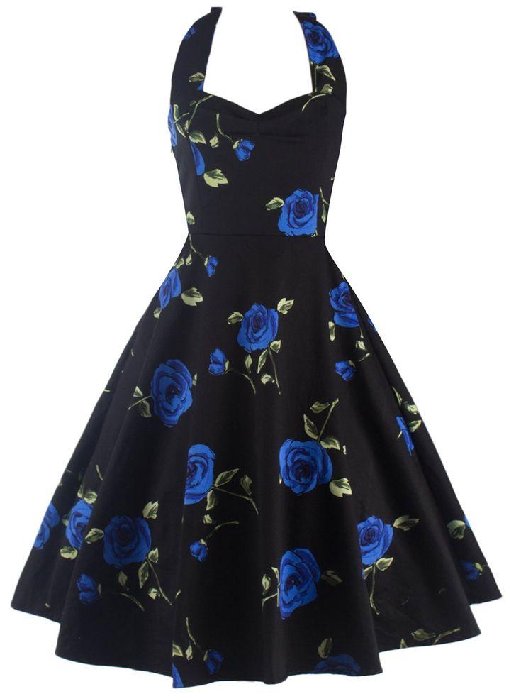 Halter Semi Formal Floral Dress