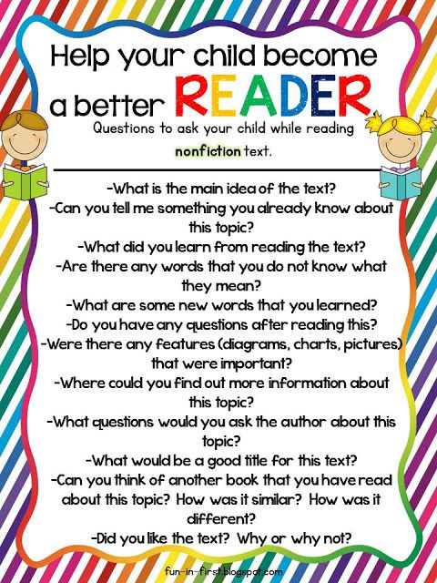 Questions to ask while reading nonfiction text. Free downloads from Fun in First