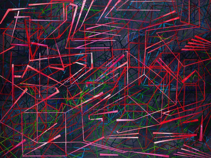 Małgorzata Kosiec, Red Track, 2014, akryl, płótno, 200x150 cm.