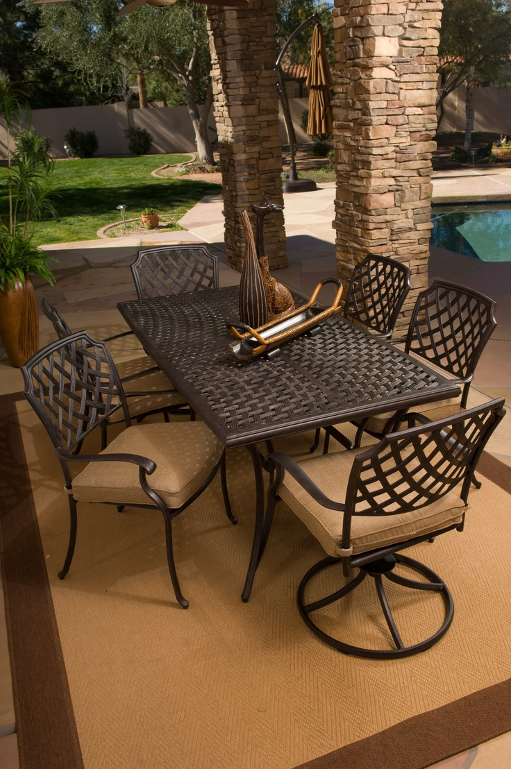 agio heritage collection aluminum patio furniture 7 piece dining set