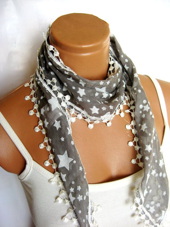 Gray White Scarf starred fabric scarf Turkish by WomanStyleStore, $14.00