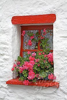 Greece bright red window