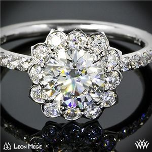 'Lotus Halo' Diamond Engagement Ring by Leon Mege #Whiteflash