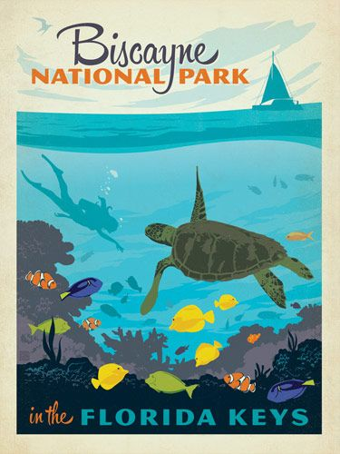 Biscayne National Park - Anderson Design Group has created an award-winning series of classic travel posters that celebrates the history and charm of America's greatest cities and national parks. Founder Joel Anderson directs a team of talented Nashville-based artists to keep the collection growing. This print features the tropical underwater beauty of Biscayne National Park, Florida.