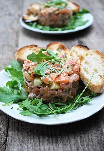 Les gourmandises d'Isa: TARTARE AUX DEUX SAUMONS ET À LA GRANNY SMITH