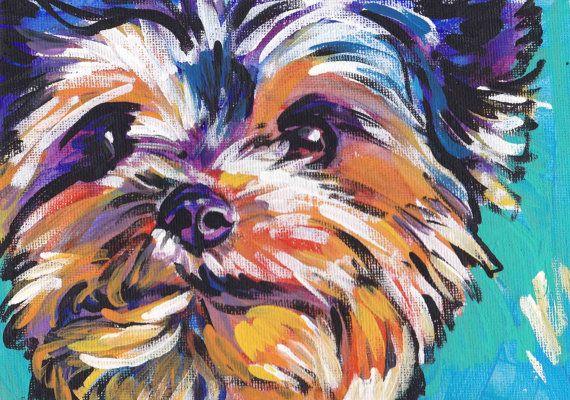 "Yorkshire Terrier yorkie art print pop dog portrait art bright colors 8.5x11"" giclee print"