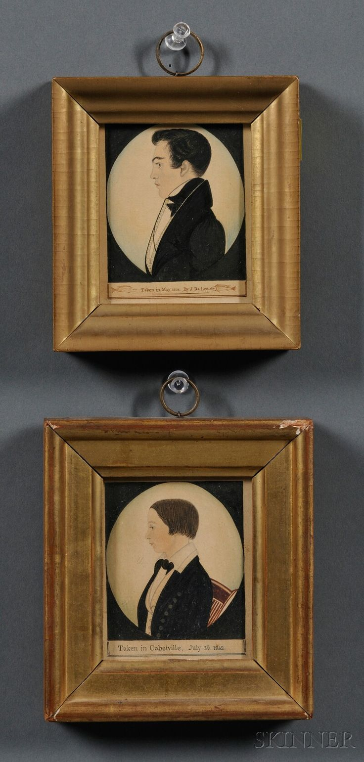 Justus Da Lee (American, 1793-1878) Two Profile Portrait Miniatures of a Young Man and a Boy. | Sale Number 2608M, Lot Number 891 | Skinner Auctioneers