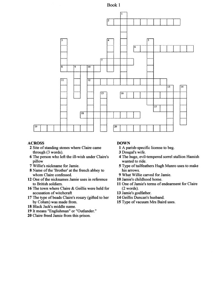 Outlander(Book 1) Crossword puzzle  This would be fun for a premiere party