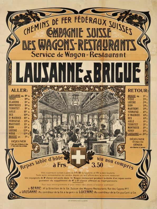1905 Swiss restaurant railways time schedule between Lausanne and Brig (Valais), Switzerland vintage travel poster