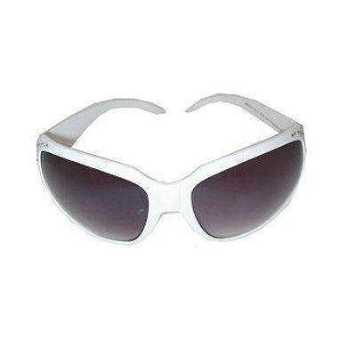 Witte glitter zonnebril met strassteentjes. Deze witte glitter zonnebril heeft een wit frame en donkere glazen. Geschikt voor volwassenen.