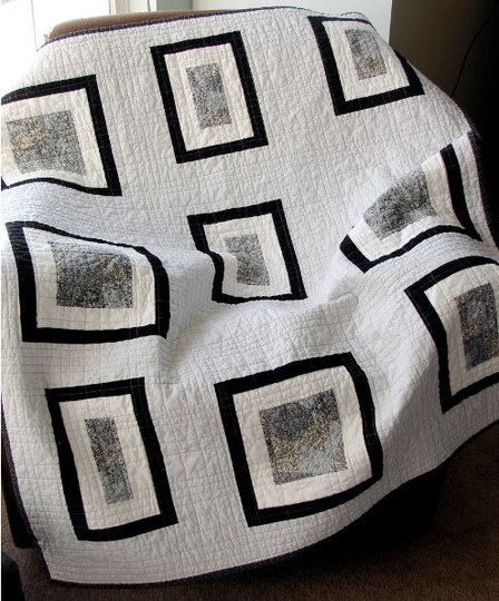 black and white quilt; the Modern Quilt Guild