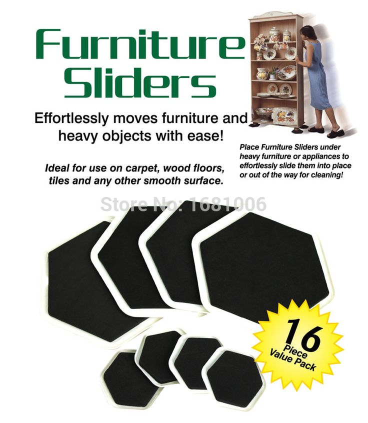 Sexangular Furniture slider, 8 besar slider dan 8 kecil, Mudah bergerak Furniture dan berat benda dengan kemudahan, Melindungi lantai FP001