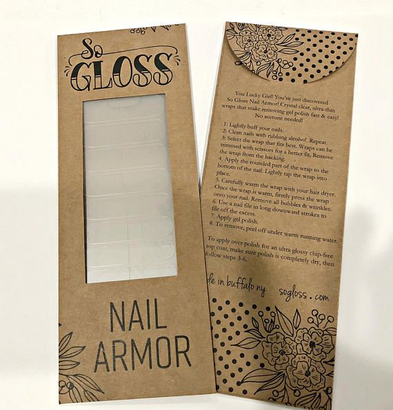Please upgrade your shipping to receive in time for Christmas! -U.S. orders only So Glosss Nail Armor is Hoard Worthy - Allure Magazine 2016 THERE IS FINALLY A CHEMICAL FREE WAY TO REMOVE GEL POLISH! Introducing So Gloss Nail Armor, clear, ultra-thin wraps that make removing gel polish fast