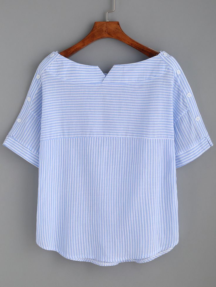 Shop Striped Boat Neck Blouse With Buttons online. SheIn offers Striped Boat Neck Blouse With Buttons & more to fit your fashionable needs.