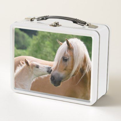 Haflinger Cute Horses Foal and Mom Cuddling Kiss / Metal Lunch Box - baby gifts child new born gift idea diy cyo special unique design