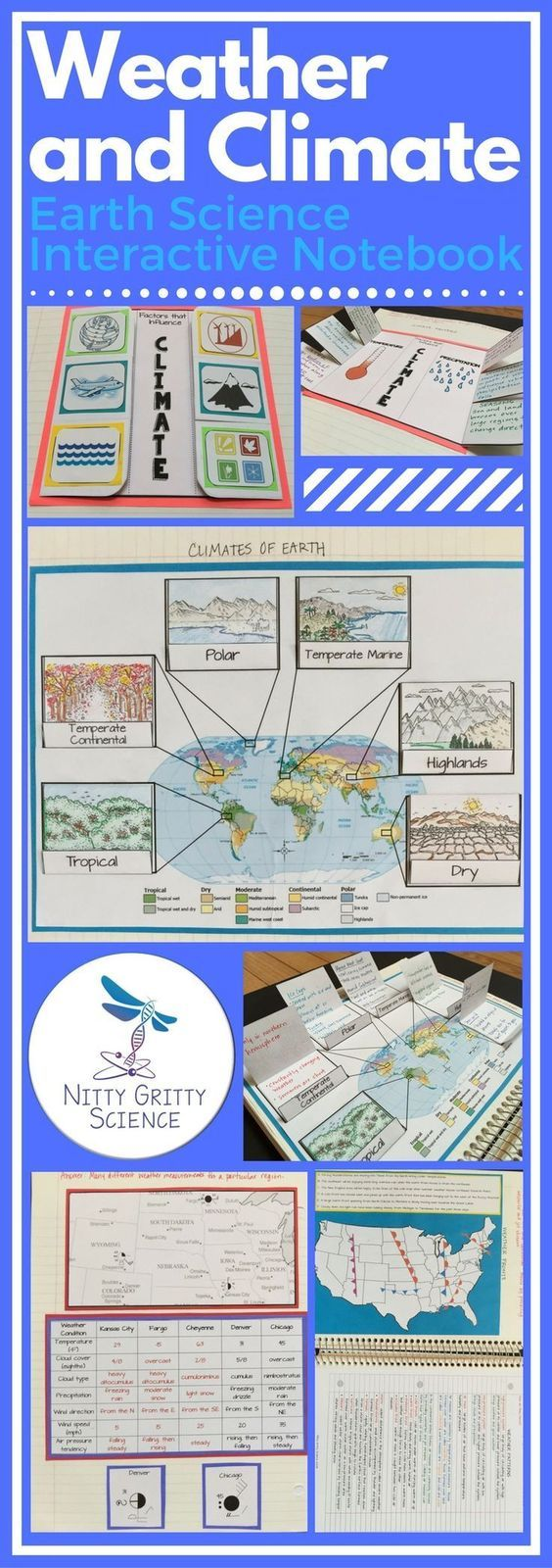 "The Earth Science Interactive Notebook: Weather and Climate chapter will never leave students feeling ""cloudy"" about their lessons. Each chapter in the series will showcase many activities for the students to process the information given by the teacher then allow them to use self-direction to apply their new knowledge. The engaging activities always vary to enable all students to use and benefit from different learning styles."