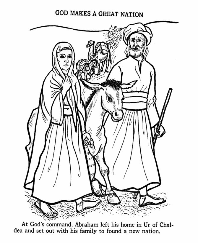 Biblical Coloring Pages with Story | Bible Printables - Old Testament Bible Coloring Pages - Abraham 1