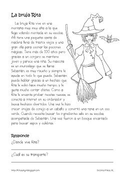 Cositas de AL y PT: La bruja Rita. Halloween time, comprehension questions over story about a witch named Rita. In Spanish.