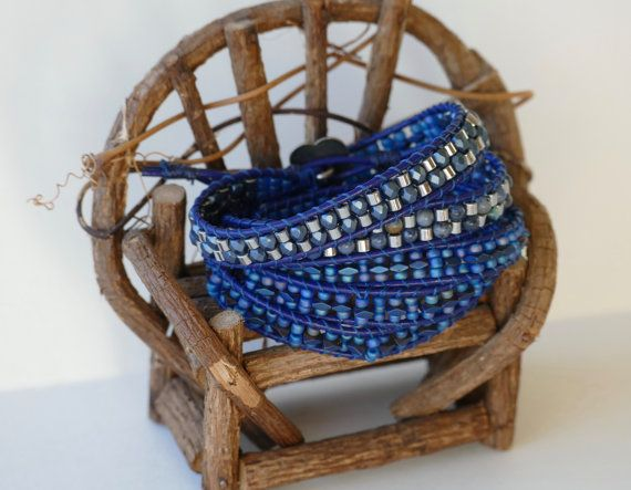 Metallic Blue Wrap Bracelet Shimmer $67.00 by BaysideBlissDesigns on Etsy