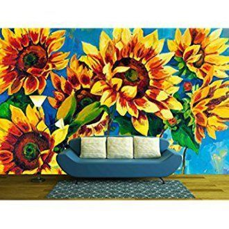 wall26 - Original Oil Painting of Sunflowers on Canvas.Modern Impressionism - Removable Wall Mural | Self-adhesive Large Wallpaper - 100x144 inches