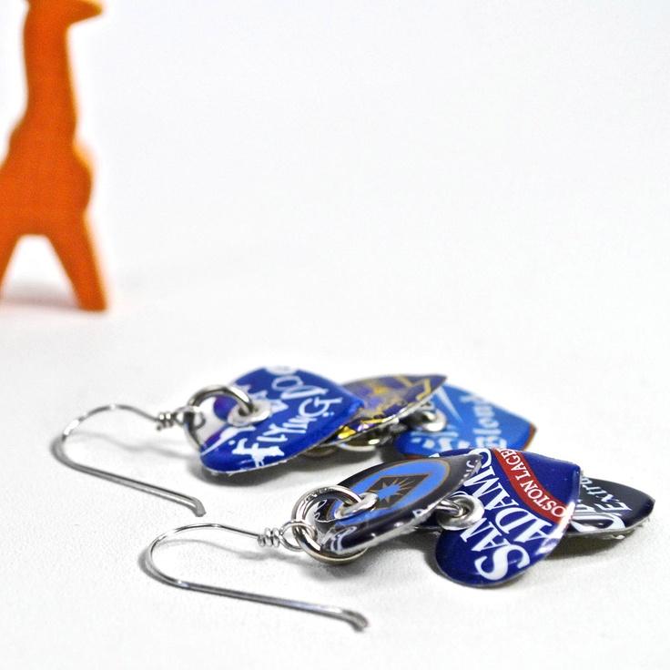 Recycled Bottle Cap Earrings- blue