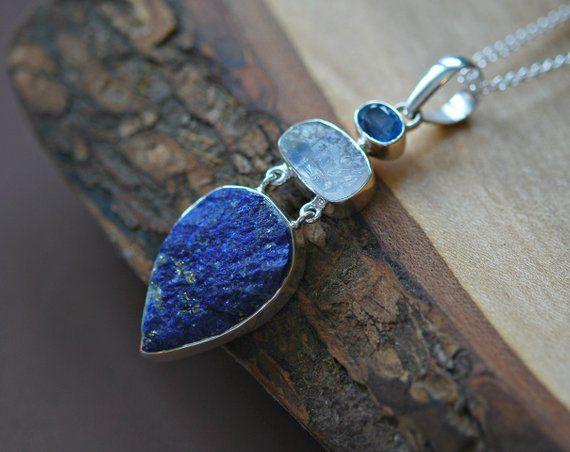 Multi gemstone pendant, sterling silver, lapis lazuli, rainbow