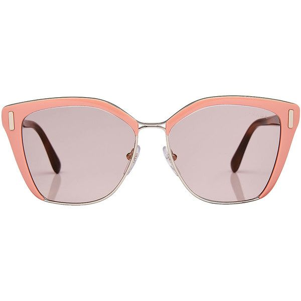 Prada Oversize Sunglasses (£200) ❤ liked on Polyvore featuring accessories, eyewear, sunglasses, glasses, jewelry, pink, over sized sunglasses, prada, oversized sunglasses and oversized eyewear