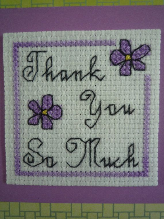 Thank you so much cross stitched greeting card by HMCrafters